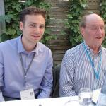 Kyle with Nobel Laureate Walter Gilbert in Lindau Germany in June 2015.
