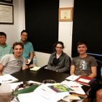 August 2015 battery subgroup meeting with Hoang, Prof. Won Mook Choi, Kyle, Duck Hyun, Melissa, Sean, and Buddie.
