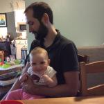 Victoria (at ~11 months old) with dad Paul Abel in Summer 2015.