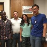 Niyi Mabayoje, Prof. Pedro Esparza, Prof. Emma Borges and Ding Tang in the lab in July 2015.  Pedro and Emma were visiting us from the Canary Islands.
