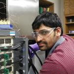 Shiva Reddy setting up to test batteries at low temperatures (2014).