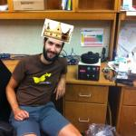 "Paul Abel shortly after receiving the ""Person of the Last Four Years Crown"" for repairing the spin coater."