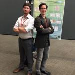 Two very serious guys (or at least one!) at the International Conference on the Physics of Semiconductors in Austin in 2014 (Alex Rettie and Will Chemelewski getting ready to hop with some polarons).