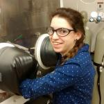Melissa Meyerson working at the glove box in the battery lab Nov. 2014.