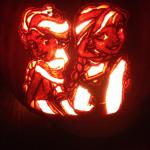 "Pete Nolan's 2014 pumpkin carving of Elsa and Anna from ""Frozen."""