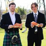 Alex Rettie (in the kilt!) and Sean Berglund having fun at Melissa and Nathan's wedding.