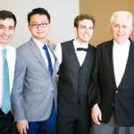 "Pedro de Souza, Han Tu, Kyle Klavetter, and Adam Heller at Kyle's wedding last year.  This photo was used for the announcement of Kyle's ""best paper award""!"